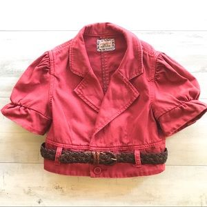 Free People Red Cropped Short Puff Sleeved Jacket
